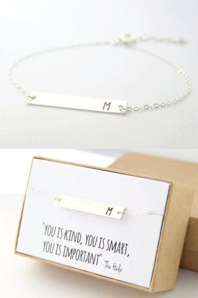 silver bar intial bracelet handmade