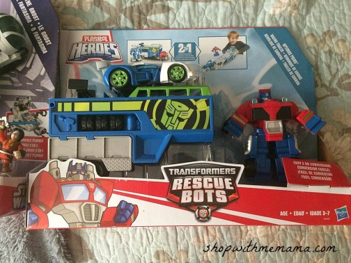 TRANSFORMERS RESCUE BOTS OPTIMUS PRIME RACING TRAILER Playset