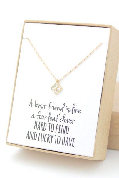 Gold Clover Good luck necklace handmade