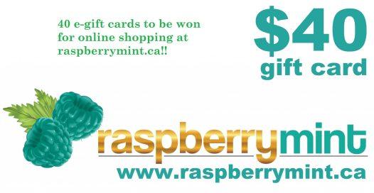 win a $40 gift card from raspberrymint 40 winners