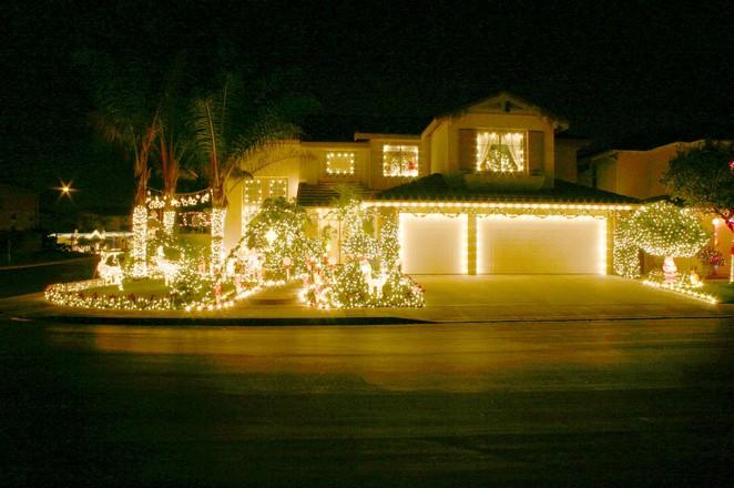 christmas lights on a big house