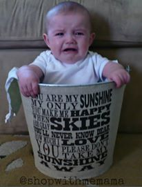 baby in bucket crying
