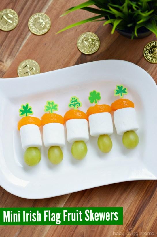 Mini Irish Flag Fruit Skewers for St. Patrick's Day