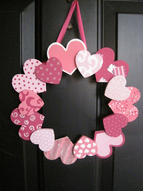Valentine's Day Paper Heart Wreath DIY