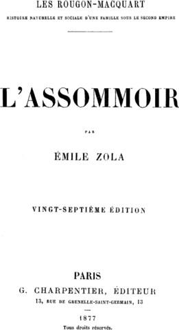 L'Assomoir, frontespizio della prima edizione in francese 1877