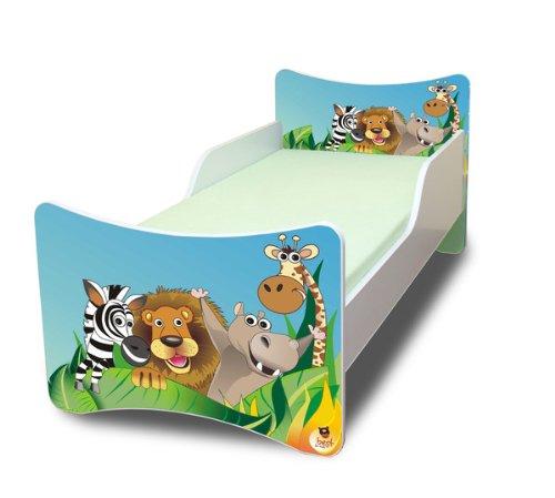 BEST FOR KIDS KINDERBETT mit Schaummatratze mit TÜV ZERTIFIZIERT 90x200 30 DESIGNS (Zoo)