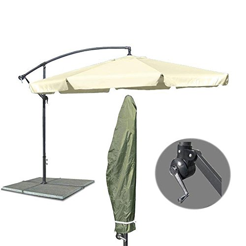 Großer Metall Ampelschirm Gartenschirm Beige 3 Meter Sonnenschirm + Schutzhülle