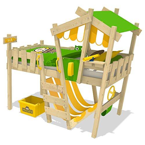 WICKEY Kinderbett CrAzY Hutty Hochbett mit Dach Abenteuerbett mit Lattenboden, apfelgrün-gelb