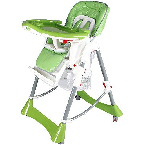Yorbay Kinderhochstuhl Babyhochstuhl Hochstuhl mit Sicherheitsgurt höhenverstellbar in verschiedenen Farben (Grün)
