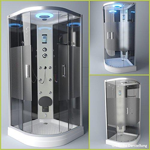 TroniTechnik Dampfdusche Duschtempel Duschkabine Dusche Eckdusche Komplettdusche S090XB2HG01 90x90