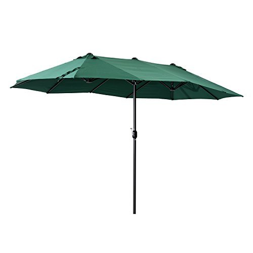 Outsunny® Doppel Sonnenschirm Marktschirm Gartenschirm Handkurbel, Alu+Polyester, Grün, 460x270x240cm
