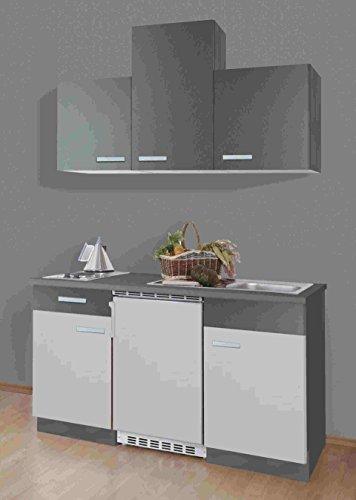 Singleküche Greta 150 cm mit Edelstahl Kochmulde und Kühlschrank in Hellgrau / Graphit
