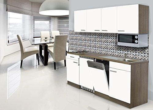respekta Einbau Single Küche Küchenblock 195 cm Eiche York Nachbildung Weiss Ceran Mikrowelle