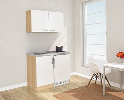 respekta Mini Küche Singleküche 100cm inkl. Oberschrank Eiche Sägerau Nachbildung Ceran Front weis MK 100 ESWOSC