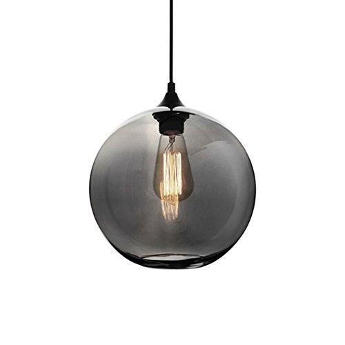 HJXDtech® Moderne Glas Kugel Pendelleuchte Vintage Industrial Deckenleuchte Hängeleuchte 25cm (Grau)