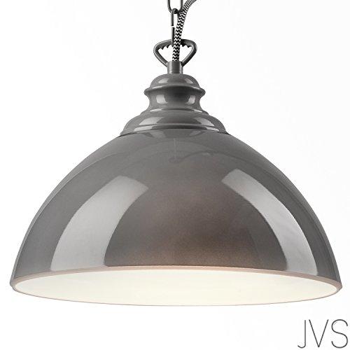 Pendel-Leuchte Decken-Leuchte aus Glas E27 Hänge-Leuchte (Farbe: Grau) Vintage Industrieleuchte Wohnzimmerlampe Modern Wohnzimmer mit Kette Vintagelampe für Wohnzimmer/Küche/Büro/Praxis
