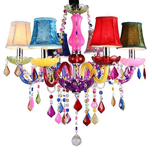 SAILUN 6-flammig Kristall Kronleuchter bunt vintage modern Lüster deckenleuchte Pendelleuchte mit Leuchte Lampenschirm E14 Hängeleuchte 60cm FüR Das Wohnzimmer,Esszimmer,Schlafzimmer (Bunt)