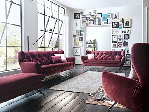 Designer Chesterfield Couch-Garnitur 3-2-1 Sofa-Set Candy Sixty Velvet Velour-Stoff Sofa 3C Polstersofa Couch mit Edelstahl Füße, Hohe Rückenlehne