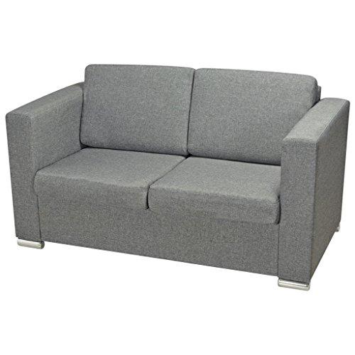 Festnight 2-Sitzer-Sofa Wohnzimmersofa 2-Sitzer Couch Loungesofa Couchgarnitur Stoffpolsterung für Wohnzimmer Büro - Hellgrau