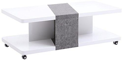 CAVADORE Couchtisch WENKE / Sofatisch auf Rollen mit attraktiver Form auf 2 Ebenen / Hochglanz Weiß; Absatz in Beton Optik grau / 120 x 60 x 42 cm (L x B x H)