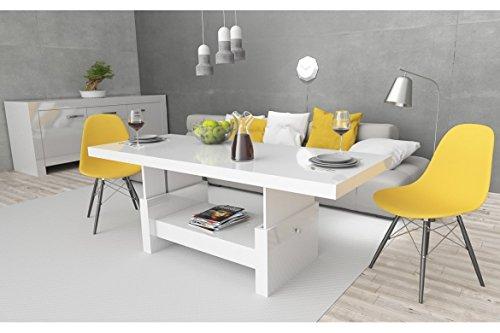 Design Couchtisch Aversa H-111 Weiß Hochglanz Schublade höhenverstellbar ausziehbar