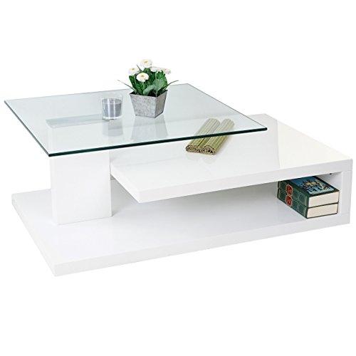 HL Design MCA Couchtisch Matthias, Wohnzimmertisch, 40x104x60cm ~ Hochglanz weiß