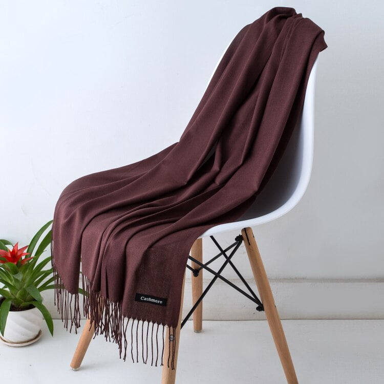 Women's Solid Color Autumn Scarf with Fringe