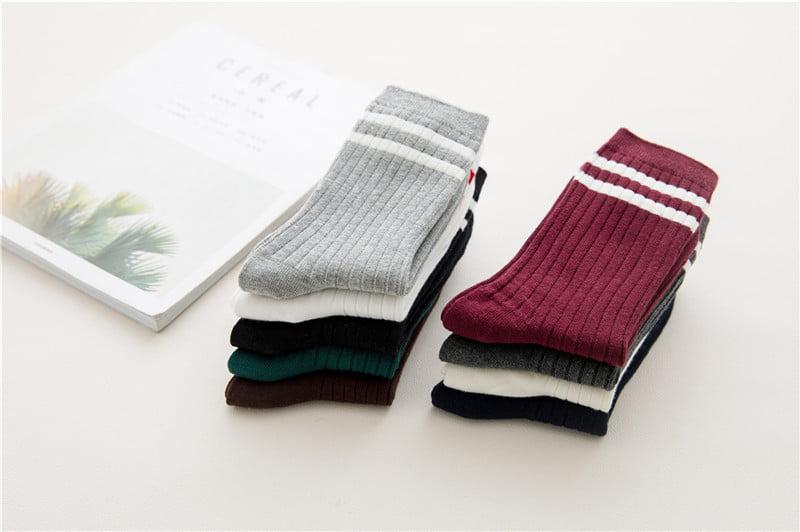 Cute Striped Design Cotton Socks