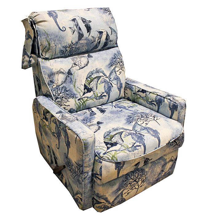 Sleek recliner chair fish upholstery