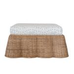 Bobbie Wicker Ottoman  w/ custom Les Touches Fabric in Sky Blue $1665.00 |Society Social