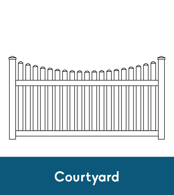 picket fence drawing. Courtyard Vinyl Picket Fence Drawing