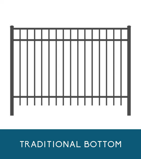Bay Breeze aluminum fencing with traditional picket bottom | Coastal Aluminum