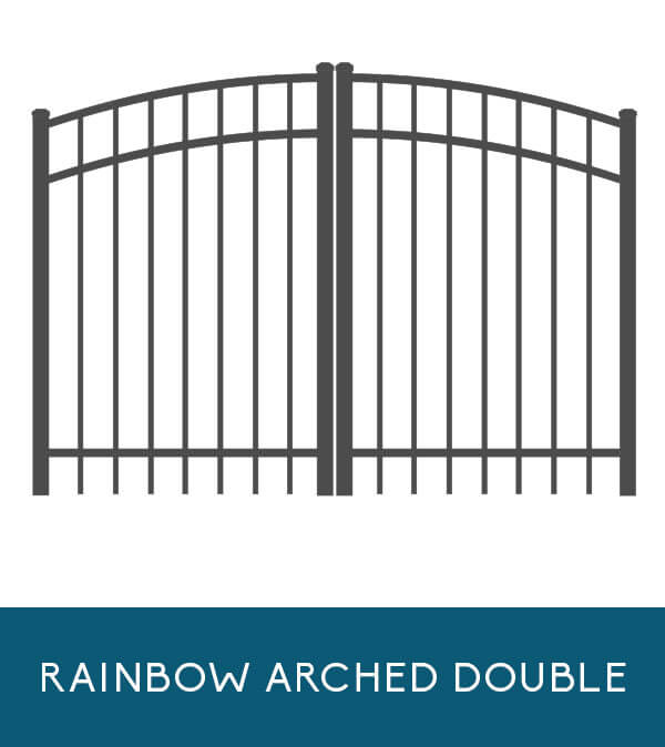 Double leaf / rainbow arched double gate for Coastal Aluminum fencing products