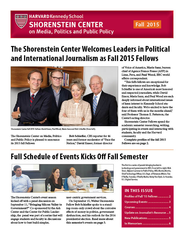 Fall 2015 Newsletter Cover