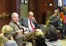 Ken Auletta and Shorenstein Center director Alex S. Jones.