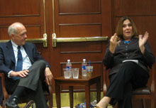 Candy Crowley and Shorenstein Center director Alex S. Jones.