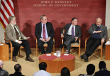From left: Moderator Richard Parker with Jack Blum, Robert Dugger, and Joseph Stiglitz.