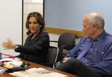 Chrystia Freeland and Shorenstein Center director Alex S. Jones.