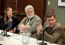 David Fanning with moderator Richard Parker and Raquel Rutledge.