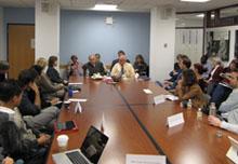Steven Levy speaks to a full house at the Shorenstein Center.