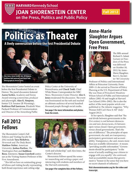Fall 2012 Newsletter cover