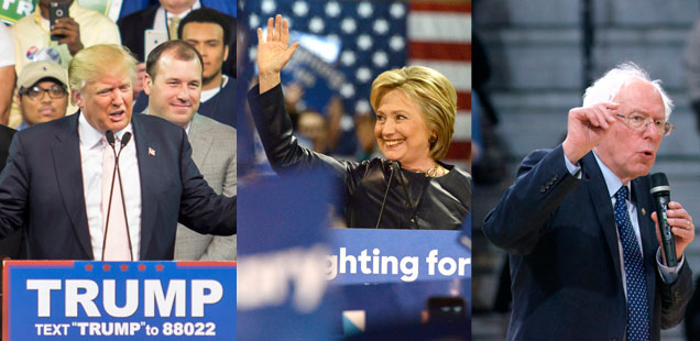 Trump, Clinton and Sanders