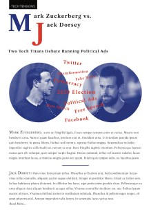 A mockup of the Tech Tensions feature in The Commons, showing a hypothetical article about the differences between Mark Zuckerberg and Jack Dorsey's positions on political ads on social media.