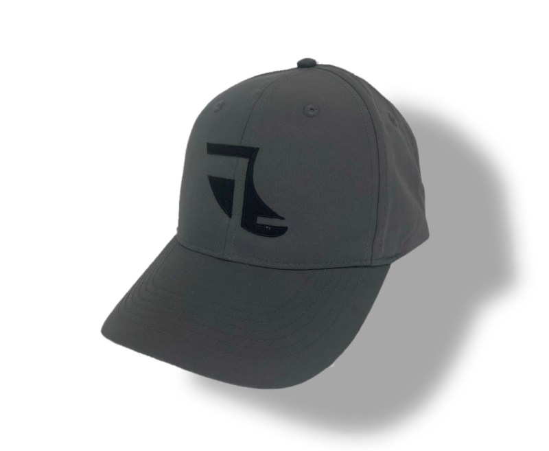 Angled image of Grey ShoreTees Baseball Cap with Black embroidered Fin Logo