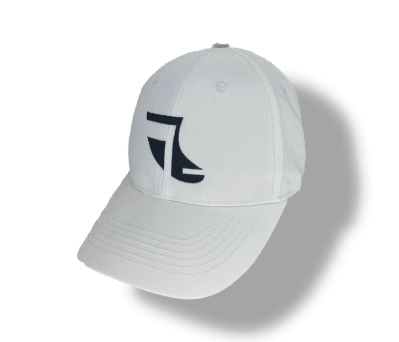 Angled image of White ShoreTees Baseball Cap with Black embroidered Fin Logo