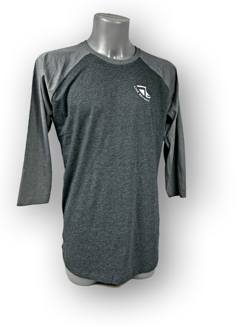 Front image of Mens Baseball T-Shirt in Melange Black and Grey with White 'Live Beyond' Detail