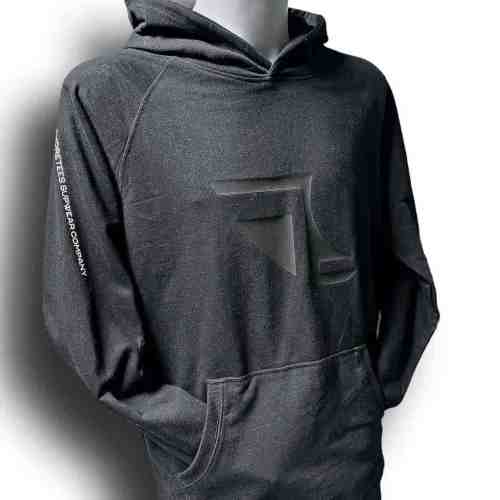 Front image of Men's Balance Collection Premium Black Hoodie with white arm silicone