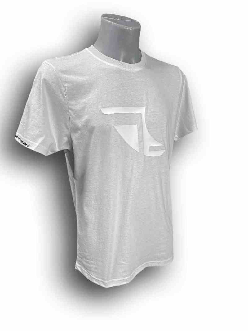 Front image of Men's Balance Collection Premium White T-Shirt with Black arm silicone