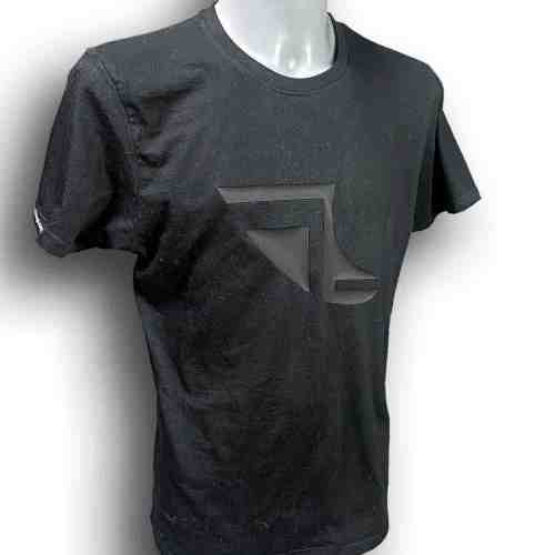 Front image of Men's Balance Collection Premium Black T-Shirt with white arm silicone