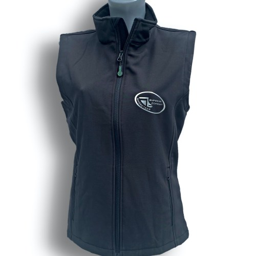 Front on image of ShoreTees SUPwear Ladies Black Recycled Gillet